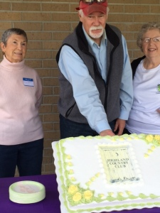 "Three of HPTA's charter members returned to celebrate HPTA's 38th anniversary on Nov. 8, 2014. Pictured with the cake are (l-r) Bettye Burford, HPTA's first president, Gaston ""Louis"" Bordelon and Betty Abadie"